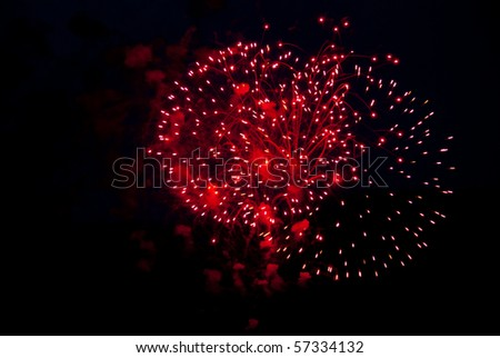 Fireworks in the evening sky - stock photo