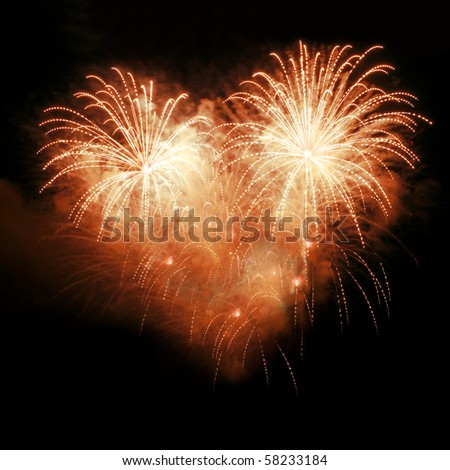 Fireworks in the night sky in the form of heart - stock photo