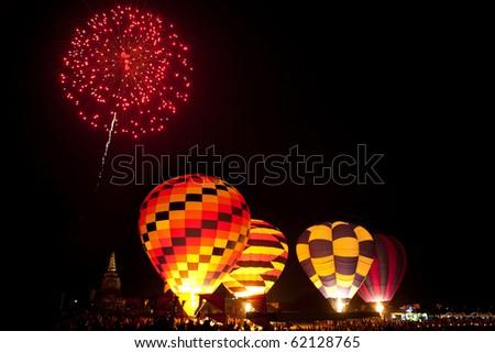 Fireworks in work ,International Balloon Festival,Thailand - stock photo