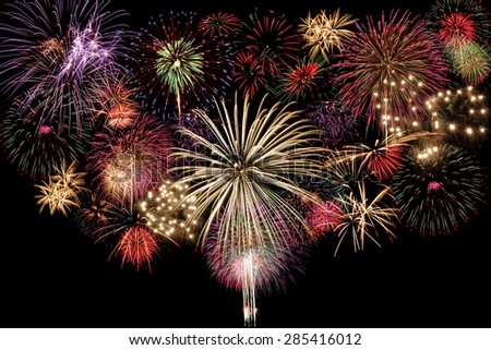 fireworks isolated on Black - stock photo