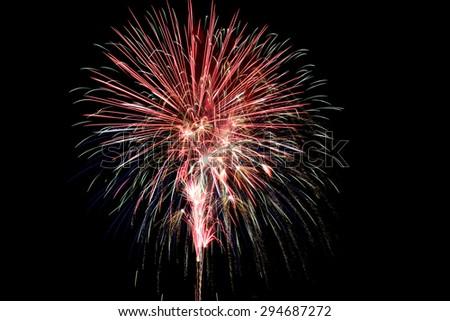 Fireworks, July 4th, 2015, New Bern, NC - stock photo