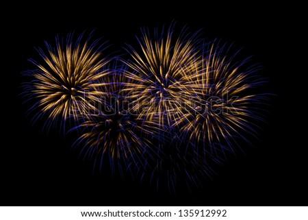 Fireworks light a black night sky - stock photo