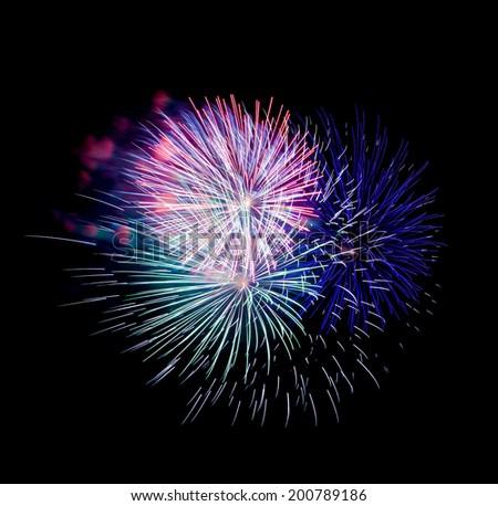 fireworks on black background - stock photo