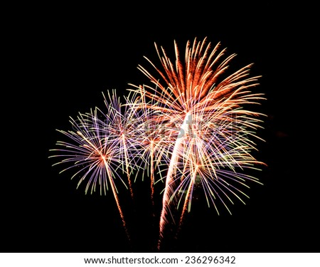 fireworks on black sky background - stock photo