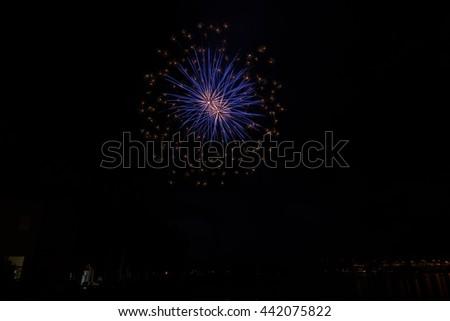 Fireworks on Garda lake  - stock photo
