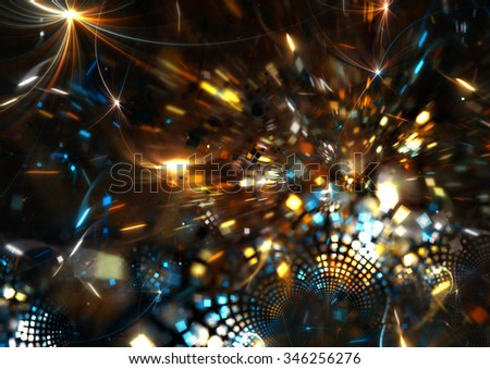 Fireworks on holiday party. Abstract bright background with lighting effect for creative design. Fantasy festive decoration. Sparkle beautiful color pattern for a night disco party. Fractal art