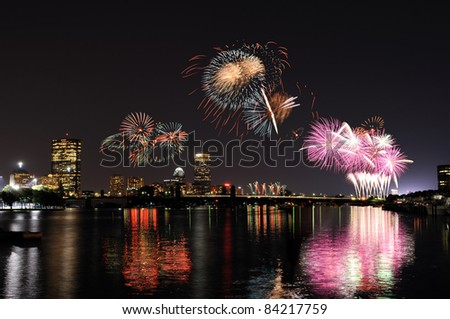 Fireworks over Boston and its reflections on Charles River - stock photo