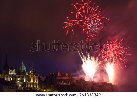 Fireworks over Edinburgh Castle on International festival - stock photo