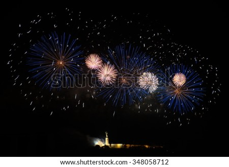 Fireworks over Liberty statue in Budapest, Hungary - stock photo