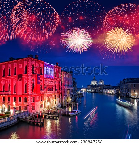 Fireworks over the Grand Canal of Venice by night, Italy - stock photo
