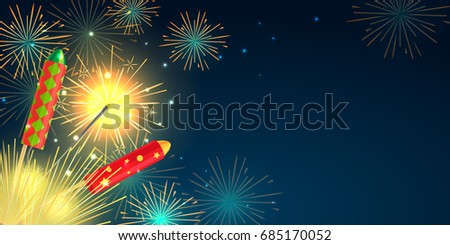 Fireworks party web barner in cartoon style. Collection of pyrotechnics illustration of colourful firework rockets exploding in night sky. New Year attributes firecrackers christmas decorations.