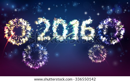 Fireworks reading 2016. Concept for New Year 2016 celebration or anything exciting happening in 2016 - stock photo