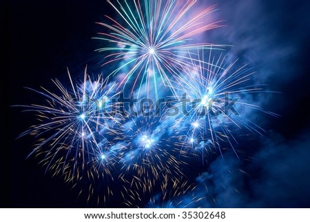 Fireworks, salute with the black sky background - stock photo