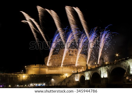 Fireworks show over Castel Sant' Angelo in Rome, Italy, during the traditional show staged on the occasion of the Feast of Saints Peter and Paul on 29 June - stock photo