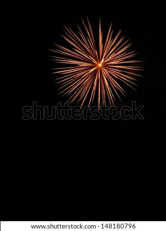 Fireworks star  in black sky - stock photo