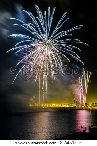 Fireworks to celebrate the Day of Mercy 2014 in Barcelona Spain - stock photo