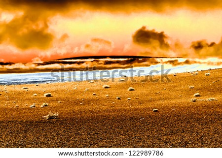 Firing  landscape. Planet Earth after Apocalypse concept. - stock photo