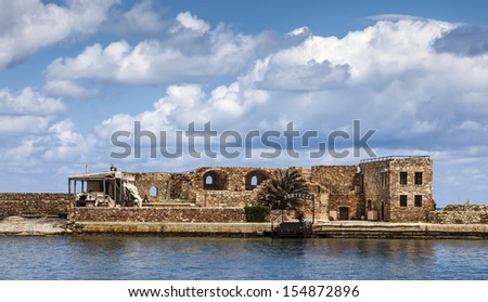 Firkas Fortress remains in Chania harbor, Crete in Greece - stock photo