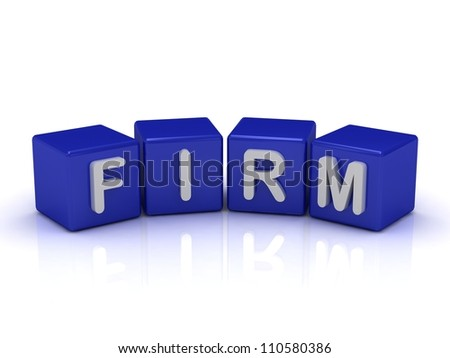 FIRM word on blue cubes on an isolated white background - stock photo