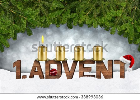 first advent concept with candles and fir branches - stock photo