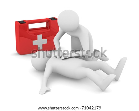 First aid. Artificial breath. Isolated 3D image - stock photo