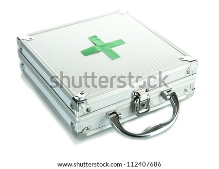 First aid box, isolated on white - stock photo