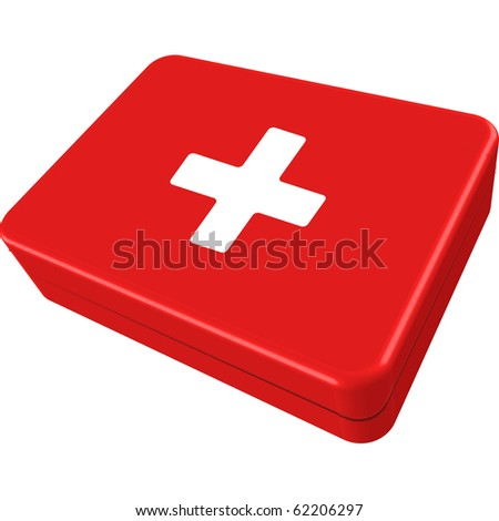 first aid box isolated on white background, abstract art illustration