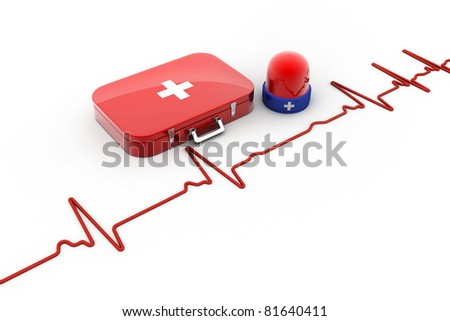 FIRST AID box with red light - stock photo