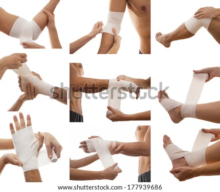 First aid concept.Collage of bandage on injury.Pain at several part of body - stock photo