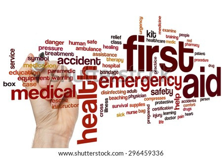 First aid concept word cloud background - stock photo