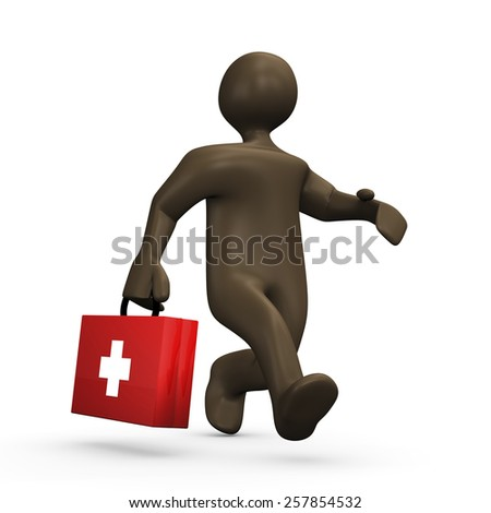 First aid, 3d illustration with cartoon character - stock photo