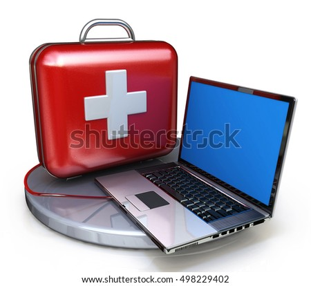 First aid for laptop in the design of information related to technical support. 3d illustration