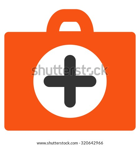 First Aid glyph icon. Style is bicolor flat symbol, orange and gray colors, rounded angles, white background.