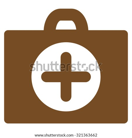 First Aid glyph icon. Style is flat symbol, brown color, rounded angles, white background.