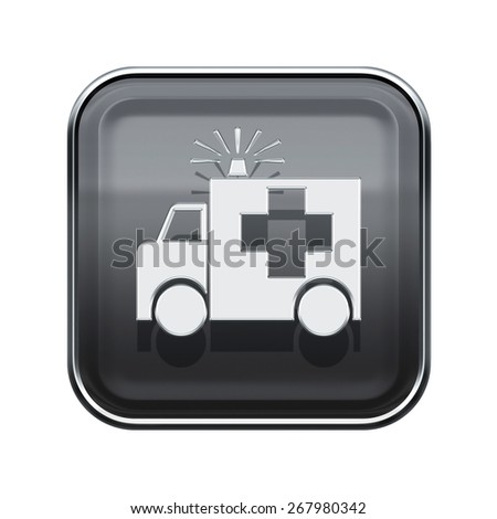 First aid icon glossy grey, isolated on white background. - stock photo