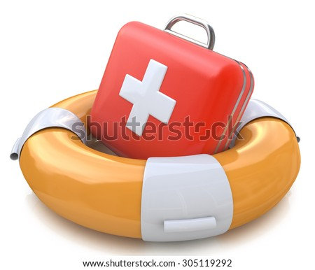 First aid kit and life belt  - stock photo