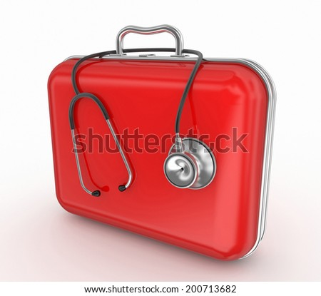 first aid kit and stethoscope - stock photo
