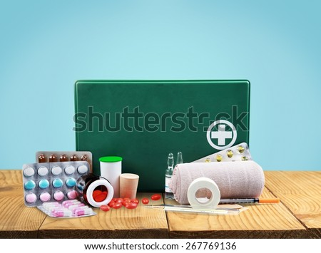 First Aid Kit, First Aid, Bandage. - stock photo