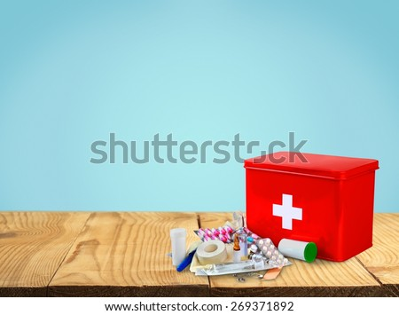 First Aid Kit, First Aid, Healthcare And Medicine. - stock photo