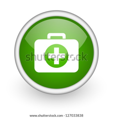 first aid kit green circle glossy web icon on white background