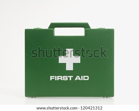 First Aid Kit. Green on White. - stock photo