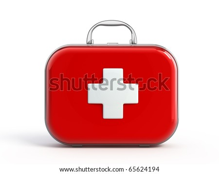 First aid kit isolated - stock photo