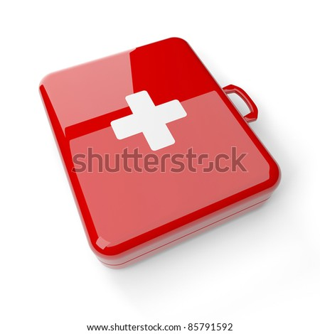 First aid kit isolated on a white background - stock photo