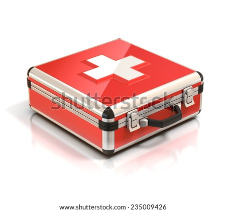 first aid kit - medical case 3d illustration  - stock photo