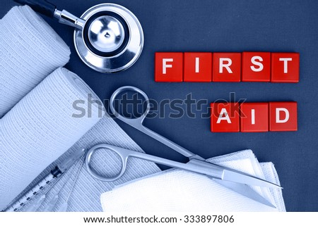 First Aid Kit, Medical Supply, Medical Emergency. - stock photo