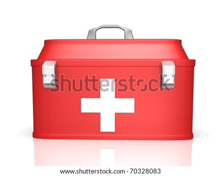first aid kit old style 3d render - stock photo