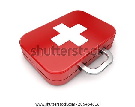 First aid kit on isolated white background
