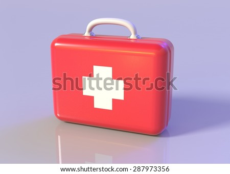 First aid kit. Red doctor's bag with white cross with reflection. Emergency, healthcare, paramedic assistance concept.  - stock photo