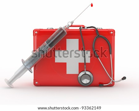 First aid kit, syringe and stethoscope. 3d - stock photo