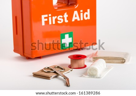 First Aid Kit with dressing material - stock photo
